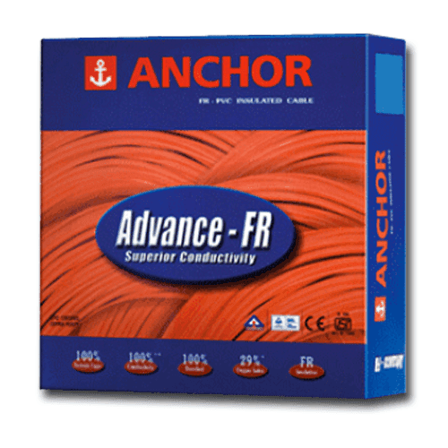 Anchor PVC Wire 0.75 sq mm FR Colour Black 1100v Copper Conductor 90 Mtr Coil