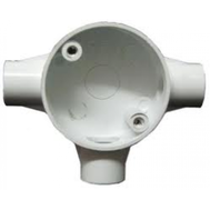 Polycab 25mm UPVC Conduit Fitting Deep Circular Box Tee 3 Way