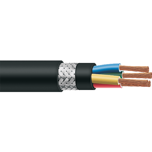 Polycab Braided Cable 0.5 sq mm 4 core 1100v Copper Conductor Flexible 100 MTR
