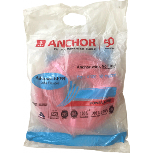 Anchor PVC Wire 1 sq mm FR Colour Red 1100v Copper Conductor 180 Mtr Coil